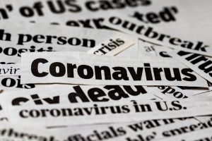 Coronavirus, covid-19 newspaper headline clippings. Print media information isolated