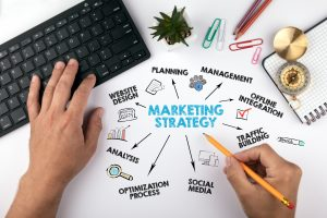 marketing strategy Concept. Chart with keywords and icons. hands on working desk doing business